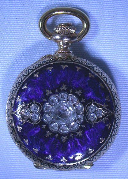 Bogoff Antique Pocket Watches Diamond and Enamel Pendant Watch - Bogoff Antique Pocket Watch # 6626