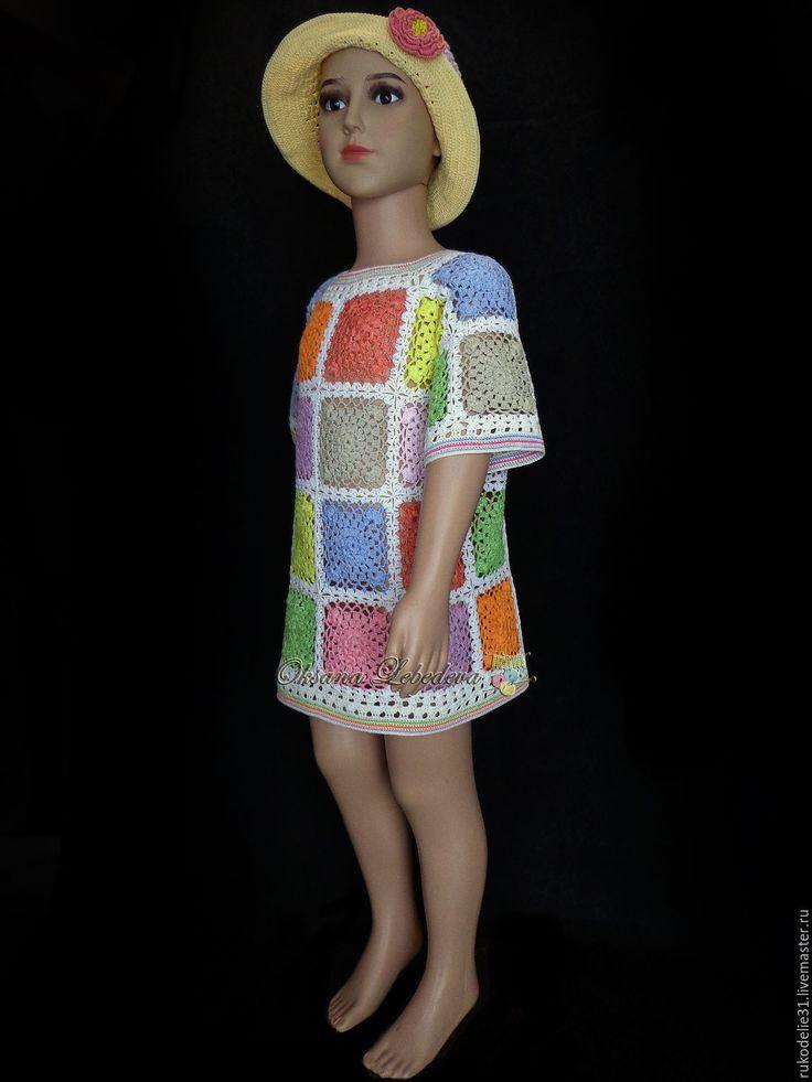 Купить Платье туника из хлопка летняя для девочки крючком Пэчворк бохо стиль