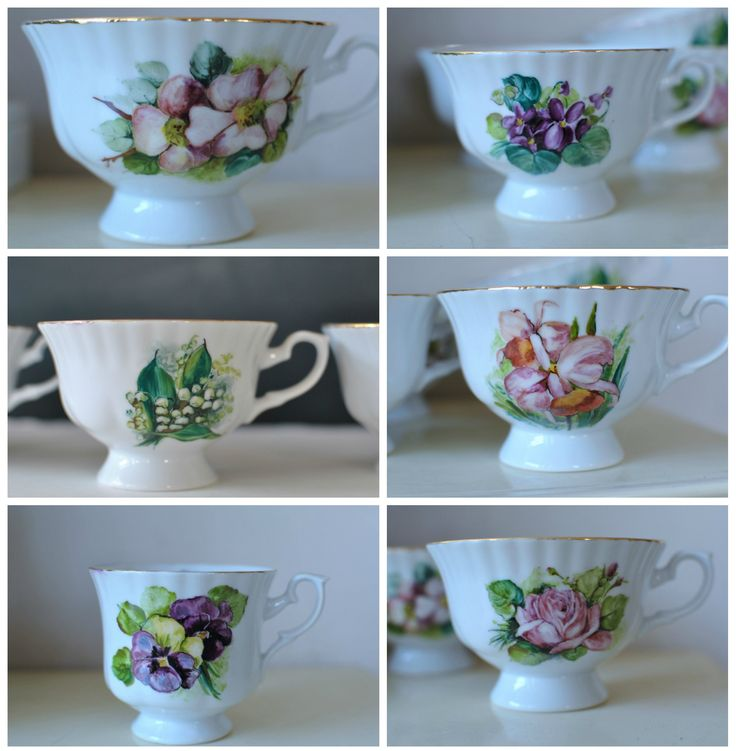tea cups whit flowers hand-painted
