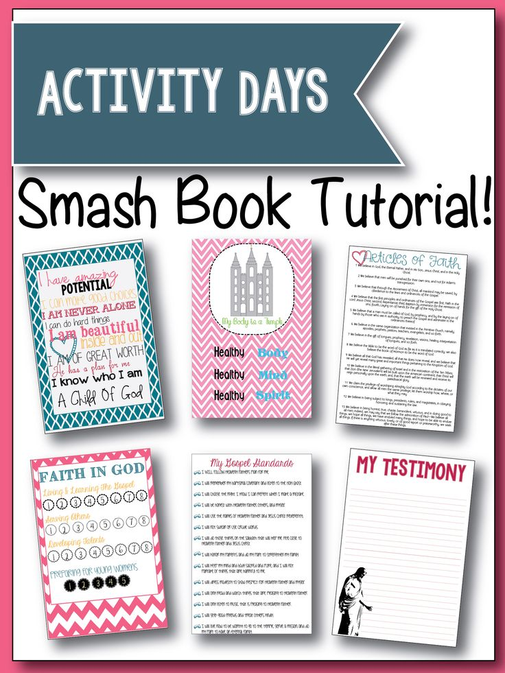SMASH Book Tutorial!  Make this cute SMASH book for your Activity Days Girls.  Free Printables.  www.latterdayvillage.com #activitydays #faithingod #articlesoffaith