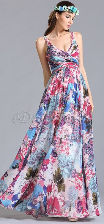 Plunging Sleeveless Printed Floral Dress