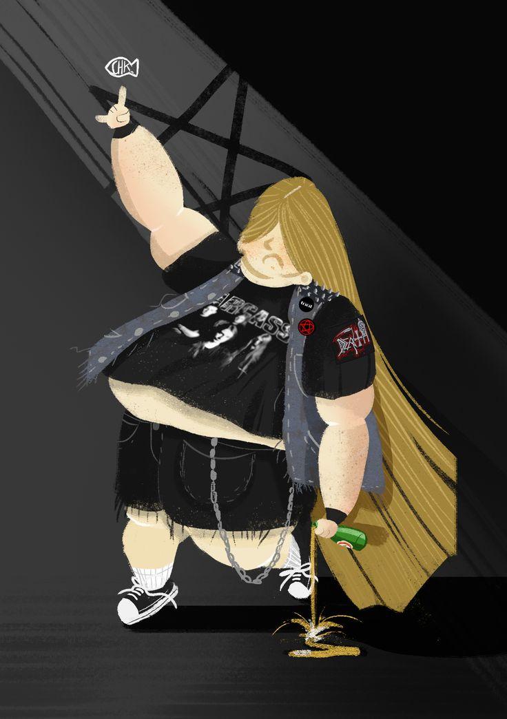 heavy metal fan character design