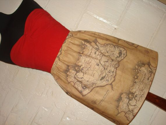 Skyrim Map Mini Skirt  High Waisted Ladies by sweetcheeksstitches, £25.00  I NEED THIS SO HARD!
