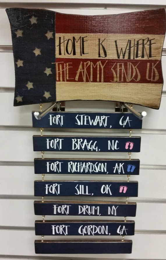 Small Wall Plaque, Home is Where The Army Sends Us, Hand Painted, Crafted, Armed Forces,Patriotic Sign, Americana,Military Duty Stations.