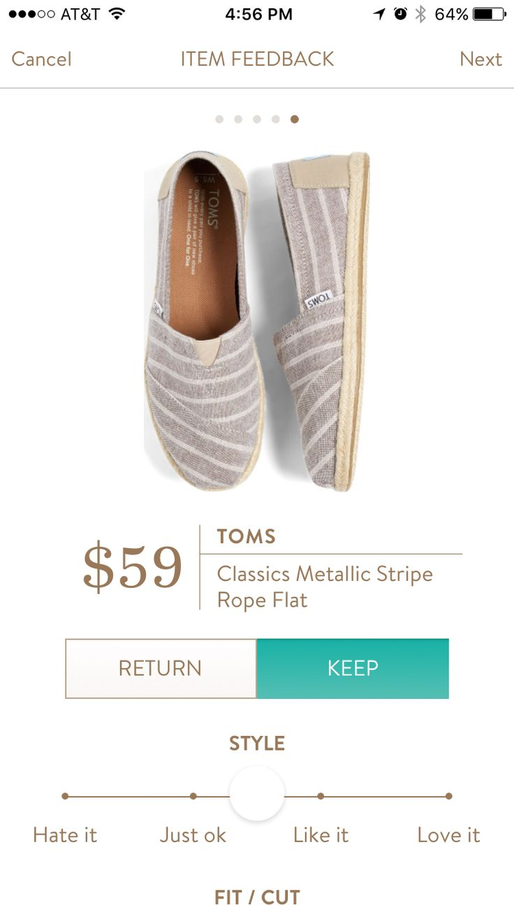 Toms Classics Metallic Stripe Rope Flat. I love Stitch Fix! Personalized styling service and it's amazing!! Fill out a style profile with sizing and preferences. Then your very own stylist selects 5 pieces to send to you to try out at home. Keep what you love and return what you don't. Try it out using the link! #stitchfix @stitchfix. Stitchfix Spring 2016. Stitchfix Summer 2016. https://www.stitchfix.com/referral/5634870.