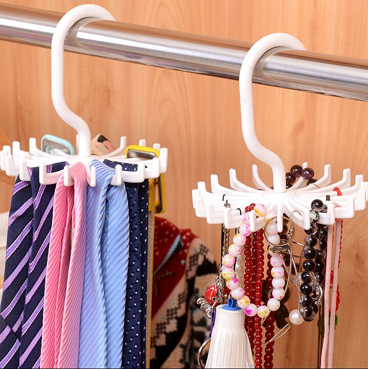 2015 Multifunction Plastic Hook Type Storage Holders Racks Portable Tie Racks Adjustable Scarfs Tie Hanger Holds Tie Organizer