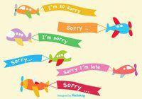 Cartoon Airplane Sorry Banner