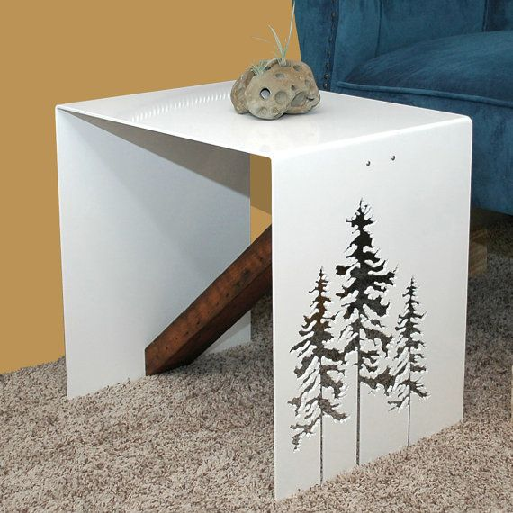 Reclaimed wood and metal end table by ChristopherOriginal on Etsy