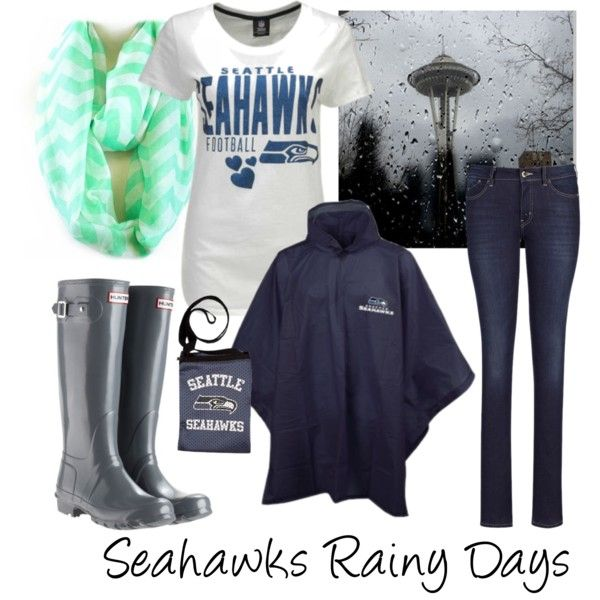 """""""Seahawks Football - Rainy Games"""" by krista-bodnar on Polyvore. I would get Seahawks Rainboots instead"""