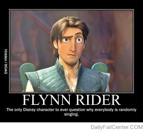 """Flynn Rider is the cleverest Disney character..... Although Patrick Dempsy's character in """"Enchanted"""" did too."""