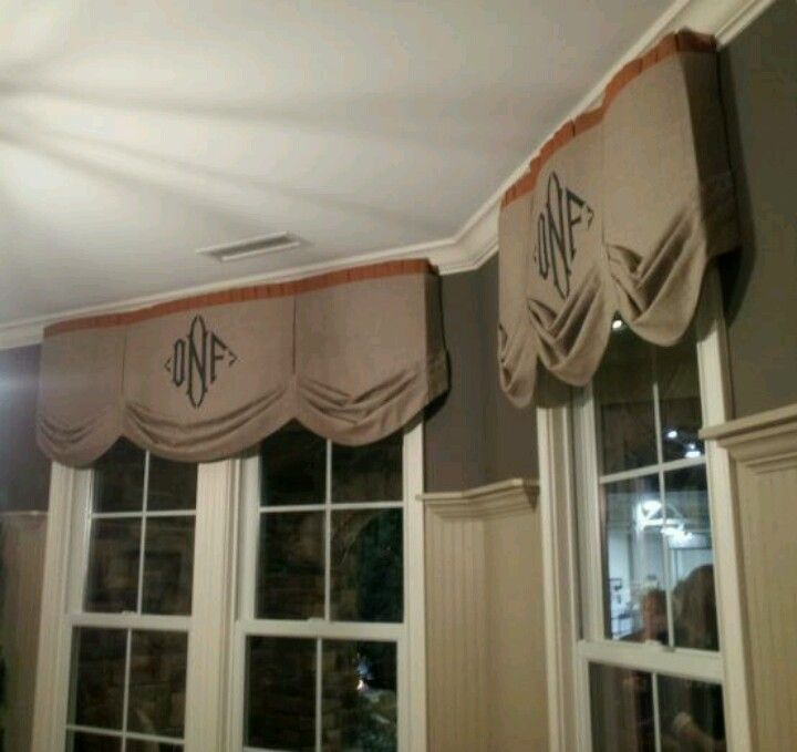 Burlap Window Treatment With Monogram For Home