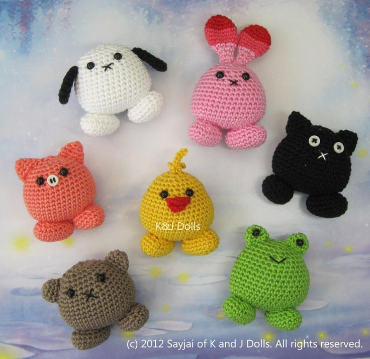 Cute round crochet animals