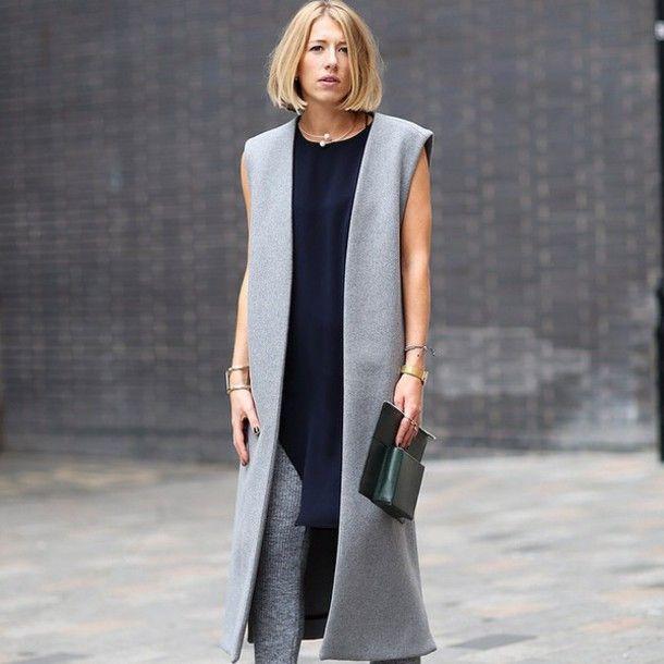 Пальто без рукавов (137 фото): тенденции 2016, женское безрукавное пальто, легкое, удлиненное, с прорезями, модели пальто