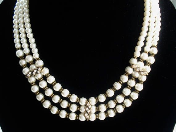 Multi Strand Pear Necklace Wedding Jewelry Vintage Style