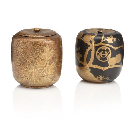 Two small lacquer natsume (tea caddies) Meiji