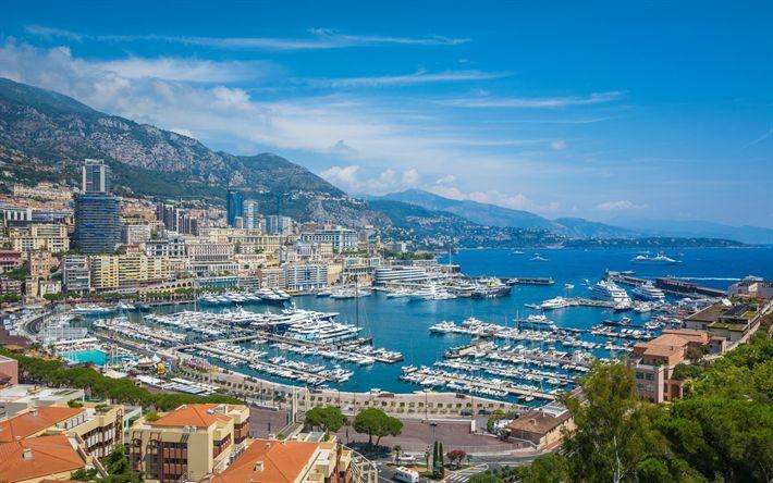 Hämta bilder Monaco, sommar, Monte Carlo, båtar, Medelhavet, rikedom, lyx, havet