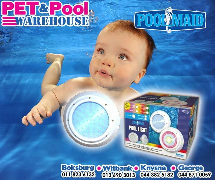 Enjoy your pool at night too with a #PoolMaid pool light available from #PetPool Warehouse. Easy to retrofit, 6 colours with colour scrolling and long life LED's. #pool