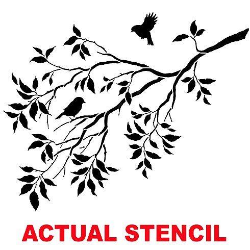 Cutting Edge Stencils - Birds on a Branch Wall Stencil