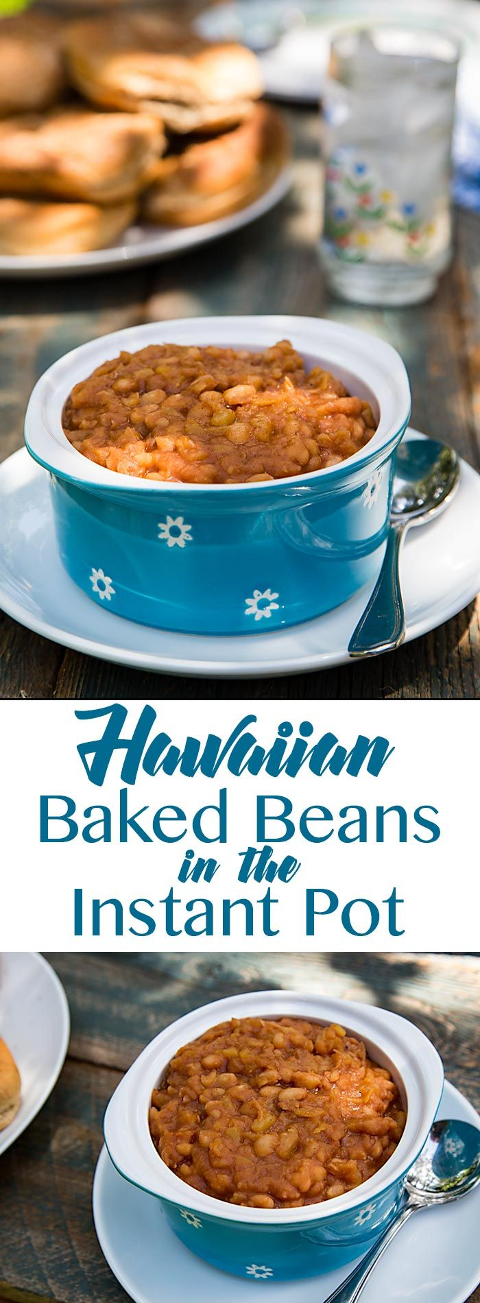 These Hawaiian Baked Beans are sweetened with pineapple, maple syrup, and dates for a delicious vegan side dish that is low in sugar and ketchup-free.