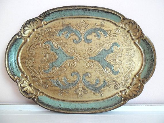 florentine tray hand-painted, arabesque green/gold wooden italian vintage