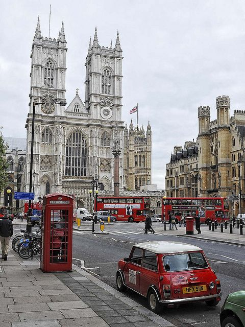 Westminster Abbey, London. (I love that some of the iconic images that are foreigners interpretations of London are here; which makes me think - were they Photoshopped on? The Red London buses, Red British phone boxes, now sadly defunct, and the iconic BMC 'Mini')