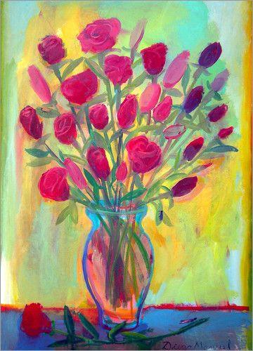 Diego Manuel Rodriguez - Roses in glass vase