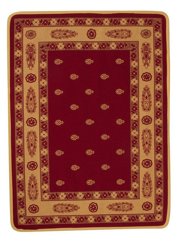 french linen jacquard placemat with bastide design in red/yellow