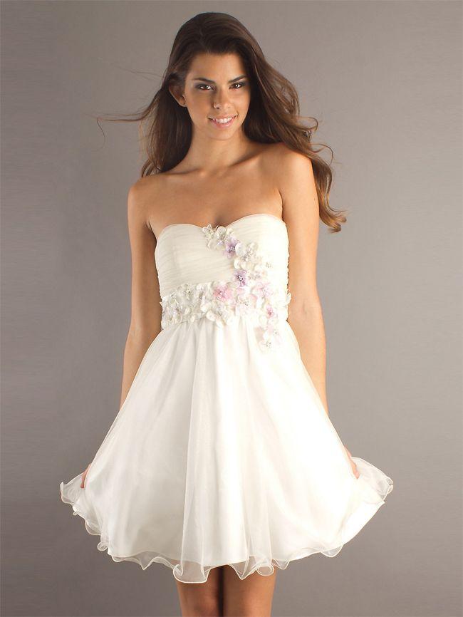 Strapless White Cocktail Dresses for Summer | Fashion | Pinterest ...
