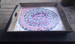 Stappenplan dienblad mozaieken, #DIY, #mozaiek.