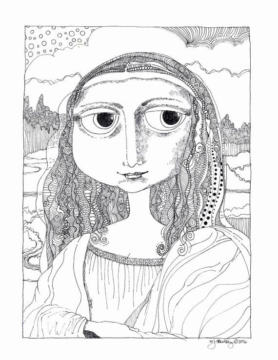 Mona Lisa Coloring Page Beautiful Coloring Page Hand Drawn ...