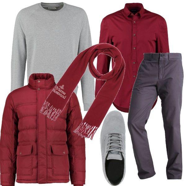 Il burgundy, colore di tendenza viene abbinato al classico grigio per una composizione adatta per il lavoro e magari per un invito successivo. La camicia burgundy viene indossata su un paio di pantaloni grigi, di taglio classico e sotto un pullover girocollo, sempre grigio, come le sneakers . Sopra si può indossare un piumino con una sciarpa, sempre nella tonalità burgundy.