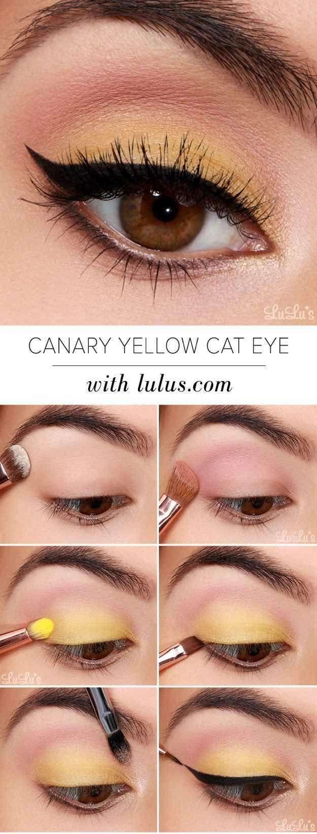 4. Yellow Eyeshadow - Cheerful Yellow Eyeshadow Tutorial for Beginners | Makeup Tutorial | 12 Colorful Eyeshadow Tutorials For Beginners