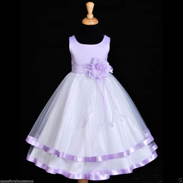 NEW WHITE LILAC PURPLE SATIN TULLE SASH WEDDING FLOWER GIRL DRESS 12-18M 2 4 6 8 #Dress
