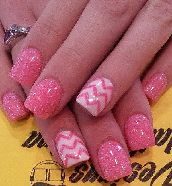 Chevron Glitter Pink Nails.