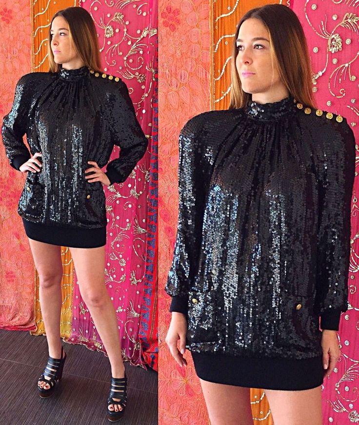 Vintage 80s Lillie Rubin Black Sequin Silk Dress Disco Party Cocktail Evening  | eBay