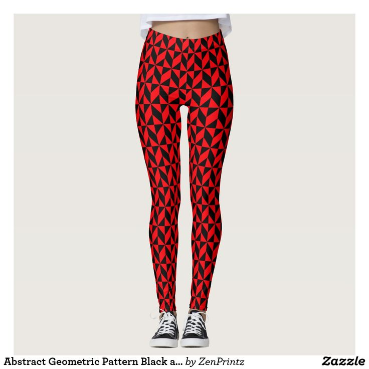 Abstract Geometric Pattern Black and Red Leggings