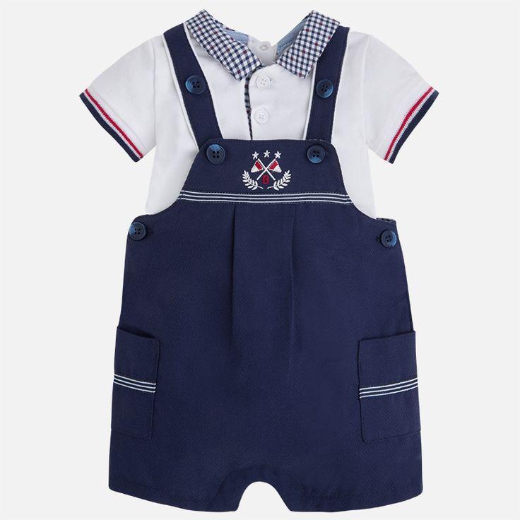Mayoral Erkek Bebek Yazlık Kısa Kol T-shirt Salopet Set Koyu Mavi - Bebek House