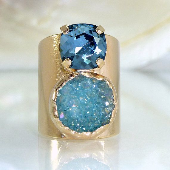 Blue Druzy Ring, Gemstones Ring, Double Stones Ring,   Mineral Ring, Statement Ring, 24K Gold Adjustable Wide Band Ring.   * Unique design * blue