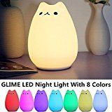 #6: GLIME Children Kids Night Light LED Cat Silicone Toy Nightlight for Baby Nursery Bedrooms Best Gifts Bedside Lamps with Tap Control/ 3 Lighting Modes/ 8-Colors/ USB Rechargeable