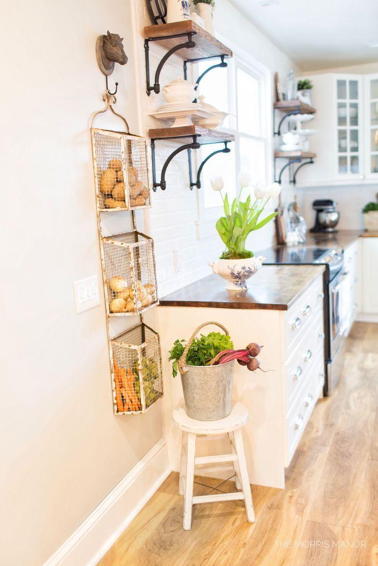 The Morris Manor Home Tour - Vintage White Farmhouse Kitchen Magazine Produce Storage Rack, Open Shelf Wood Counter Tops