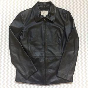Worthington Womens Black Genuine Leather Jacket Zip Up Lined Size Medium  | eBay