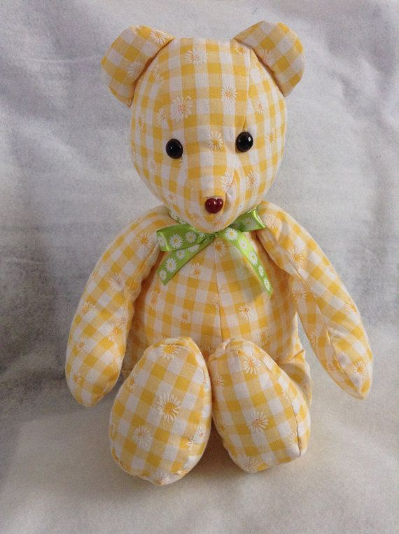 Daisy bear made in a cotton daisy fabric by SewingSunbeams on Etsy