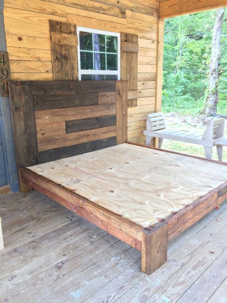 WOOD KING BED Etsy Wood pallet bed frame, Diy bed