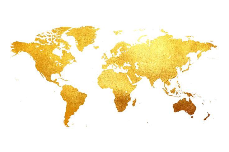 Verdenskart gull fototapet/tapet fra Happywall