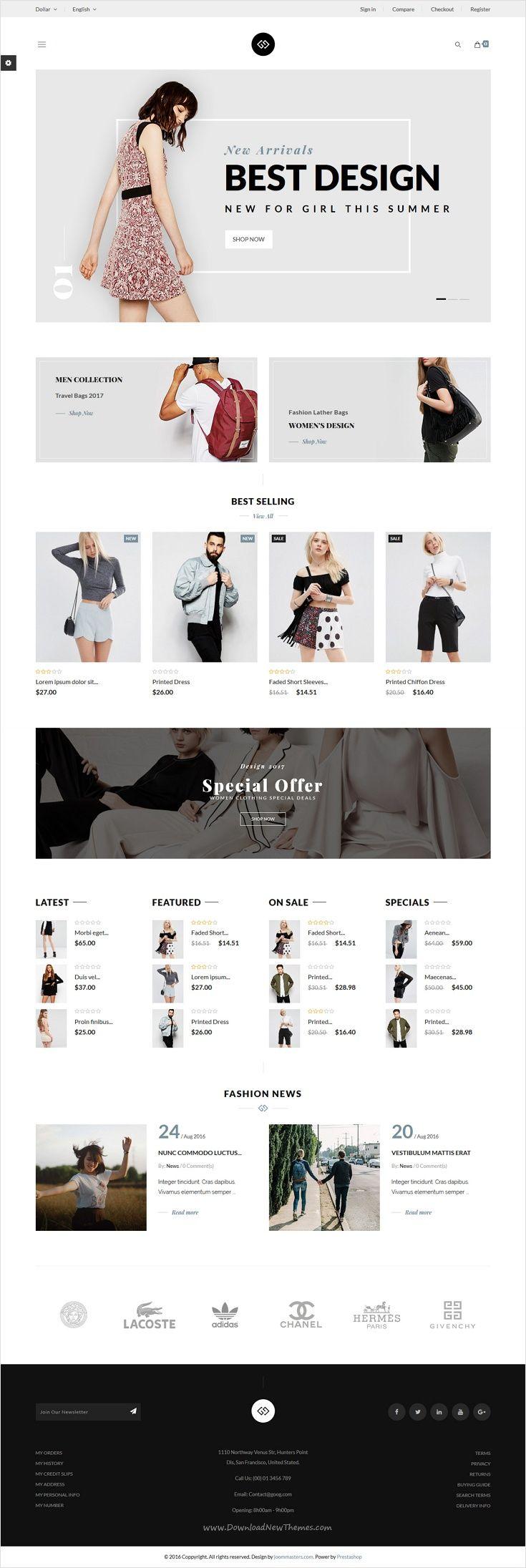 JMS GooG is the premium #Prestashop theme for fashion shop, clothes, shoes and #accessories store #website with 7+ unique homepage layouts download now➩ https://themeforest.net/item/jms-goog-responsive-prestashop-theme/18451536?ref=Datasata