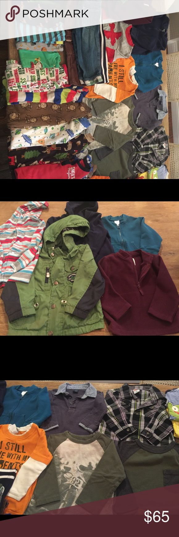 Boys lot size 18mo-2T great condition 1-Coat, 3-jackets, 1-pullover, 3-pants, 3-pajama pants, 1-pajama shirt, 6-sleeper pajamas, 1-plaid shirt, 7-long sleeve, 2-short sleeve. Gymboree, carter's, baby Gap, old navy. Shirts & Tops Sweatshirts & Hoodies