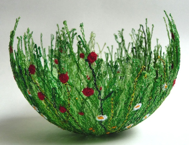 Meadow bowl, free machine embroidery on soluble fabric