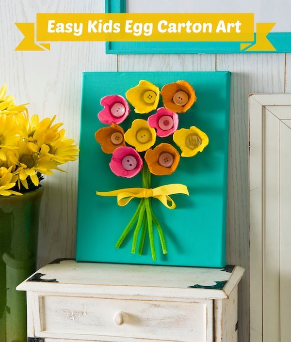 This easy egg carton craft makes wall art from recycled materials - so fun for kids!: Flowers Bouquets, Crafts Ideas, Mothers Day, Eggs Cartons Art, Egg Cartons, Eggs Cartons Crafts, Kids Crafts, Cartons Flowers, Spring Crafts