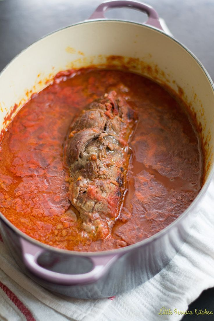 Meat loaded with caramelized onions, herbs, prosciutto, and parmesan cheese is slowly braised with a rich red sauce. Enjoy this hearty dinner with wine.