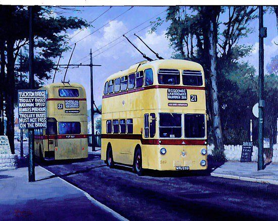 Helen Warlow (@HWarlow) | Twitter    Painting of a pair of Bournemouth Corporation Trolley buses at Tuckton Bridge obviously a weak spot on the network